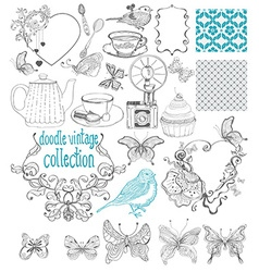 Vintage doodle elements - pattern flower butterfly vector