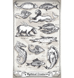 Vintage set of mythical creatures vector