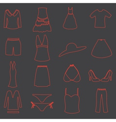womens clothing simple outline icons set eps10 vector image vector image