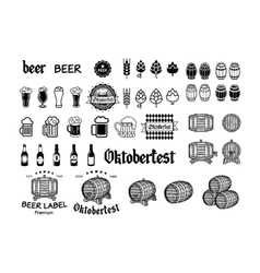 Vintage craft beer brewery emblems labels and vector