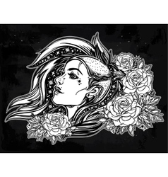 Face of a sexy young punk girl with stars roses vector
