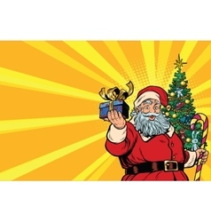 Santa Claus Christmas tree and gift copy space vector image