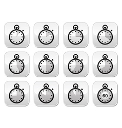 Time clock stopwatch buttons set vector image