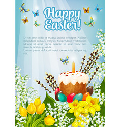 Easter poster paschal cake eggs flowers vector