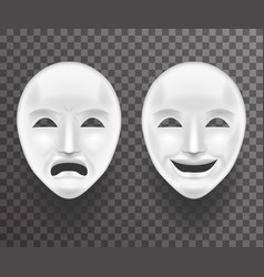 Theatrical mask sadness and joy white actor play vector