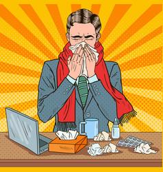 Pop art businessman sneezing at work vector