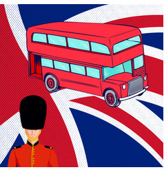 British red bus royal guard flag uk vector