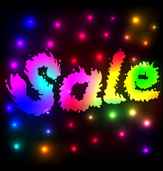 background with neon glowing sale word vector image
