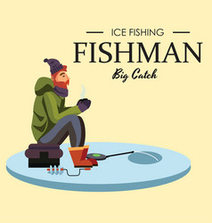 flat fisherman hat sits on bag with spin fishing vector image