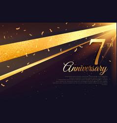 7th anniversary celebration card template vector