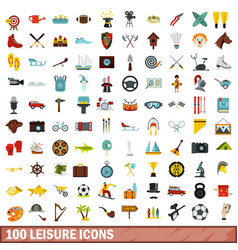 100 leisure icons set flat style vector