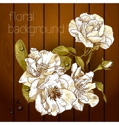 Beautiful flowers on a wooden texture vector