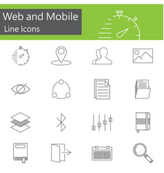 Web and mobile line icons set outline vector