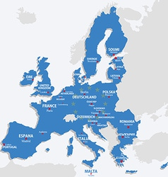 European Union map with all europe countries and vector image