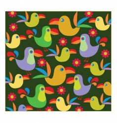 Tropical birds background vector