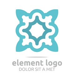 Logo flower elements lines design abstract vector
