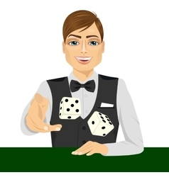 Man throwing the dice gambling playing craps vector