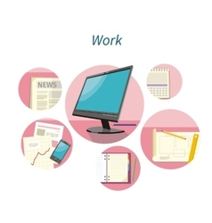 Work with document concept flat design vector