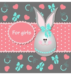 Card for baby girl with bunny vector