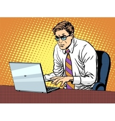 Businessman working on laptop vector