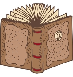 Open book with a brown leather cover vector