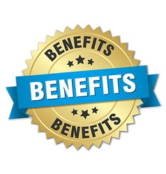 Benefits 3d gold badge with blue ribbon vector