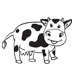 Simple black and white cute cow vector