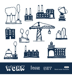 Industrial buildings icons set vector