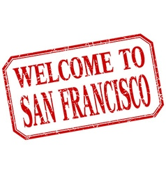 San francisco - welcome red vintage isolated label vector