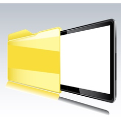 Folder with abstract monitor vector