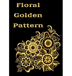 Abstract golden floral pattern vector