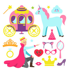 Accessories for princess party and fairy prince vector
