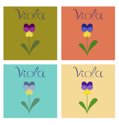 Assembly flat nature plant viola vector