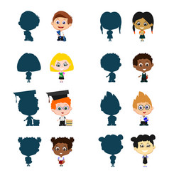 Children with silhouettes vector