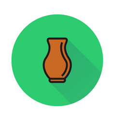 clay jar icon on round background vector image