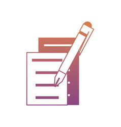 document pages and pen icon vector image