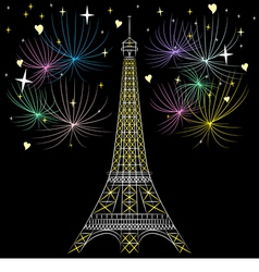 Eiffel tower in night vector