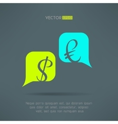 euro and dollar dialog with speech bubbles vector image vector image