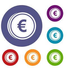 euro coins icons set vector image vector image
