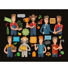 Farmers and gardeners flat agriculture icons set vector