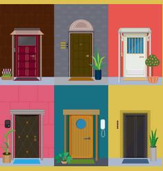 Flat elegant colorful doors set vector