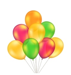 Green Red Orange Yellow Balloons Set vector image