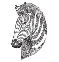 Hand drawn graphic ornate floral zebra head vector