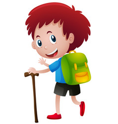 little boy with backpack and walking stick vector image