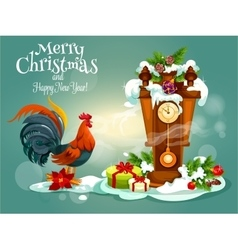 Merry christams and red rooster new year greeting vector