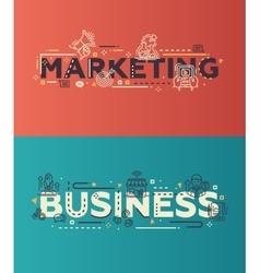 Modern flat design marketing business lettering vector