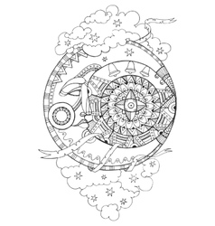 Moon with face drawing coloring book for adults vector