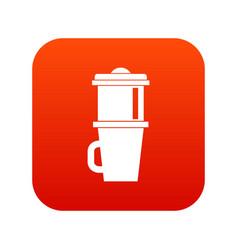 mug for coffee icon digital red vector image vector image