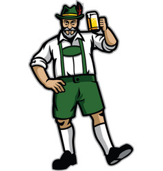 Old man wearing lederhosen and happy with his beer vector