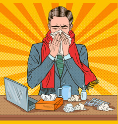 pop art businessman sneezing at work vector image